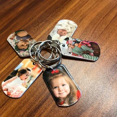 Double Sided Photo Keychain Gift for Dad Grandpa Custom Children Dog Pet Photo Keyring Photo Keychain