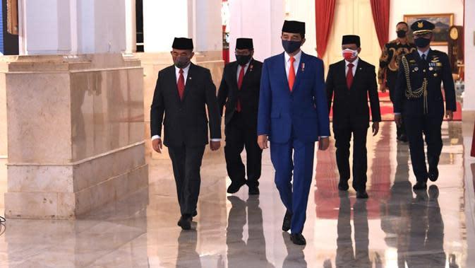 Presiden Joko Widodo atau Jokowi tiba untuk memimpin upacara Pengukuhan Pasukan Pengibar Bendera Pusaka (Paskibraka) di Istana Negara, Jakarta, Kamis (13/8/2020). Sebanyak 8 anggota Paskibraka akan bertugas pada upacara HUT ke-75 Kemerdekaan RI. (Foto: Lukas - Biro Pers Sekretariat Presiden)