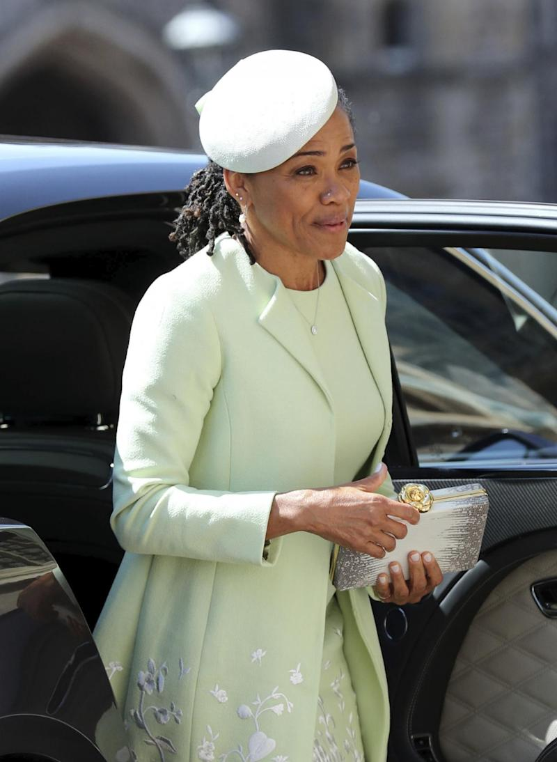 Doria Ragland arrives for the wedding ceremony of Prince Harry and Meghan Markle at St. George's Chapel in Windsor Castle (AP)