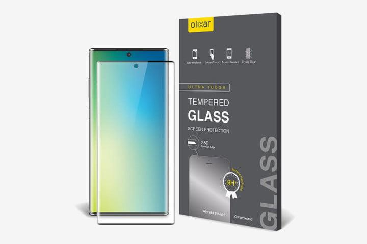 Picture of Samsung Galaxy Note 10 with a box containing the Olixar tempered glass screen protector next to it