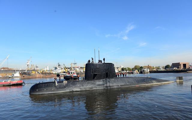 The Argentine military submarine ARA San Juan and crew are seen leaving the port of Buenos Aires - REUTERS