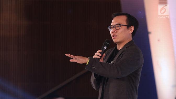 Co Founder&President at Bukalapak, M Fajrin Rasyid memberi materi tentang cara melihat peluang dan membuka bisnis selama EGTC 2018 di Universitas Padjajdaran, Bandung (5/12). M Fajrin Rasyid berbagi inspirasi bisnis. (Liputan6.com/Helmi Fithriansyah)