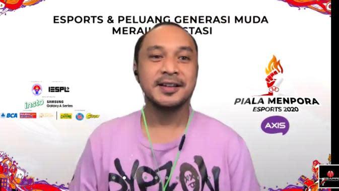 Ketua Penyelenggara Piala Menpora Esports 2020 saat bincang virtual bertajuk Esports dan Peluang Generasi Muda Meraih Prestasi. (foto: istimewa)