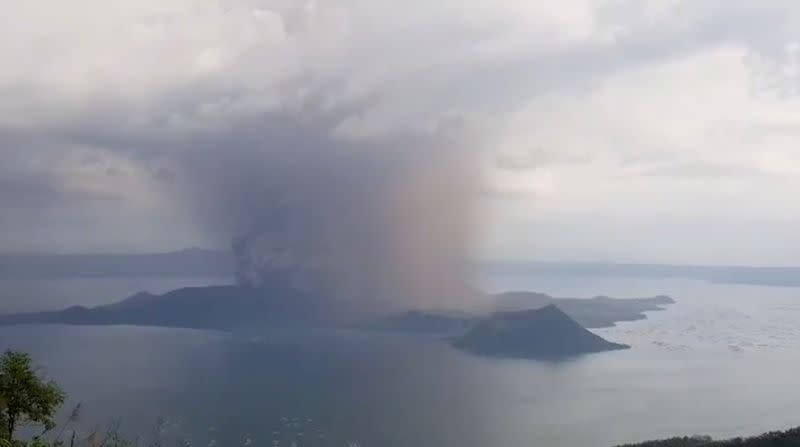 View of the Taal volcano eruption seen from Tagaytay