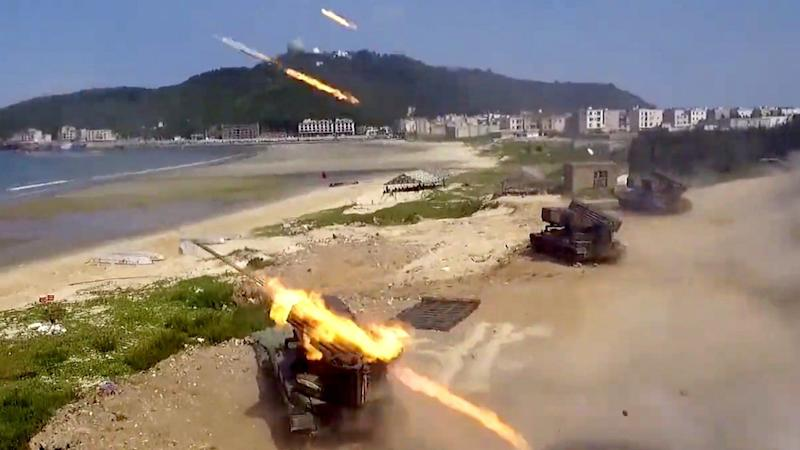 Chinese military stages island invasion drill during Taiwan's 'Double Tenth' holiday