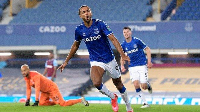 Striker Everton, Dominic Calvert-Lewin, usai jebol gawang West Ham