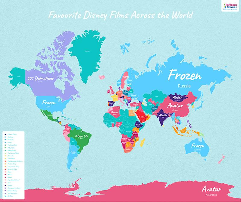 Map of favourite Disney movies across the globe. Image courtesy of Parkdean Resorts.