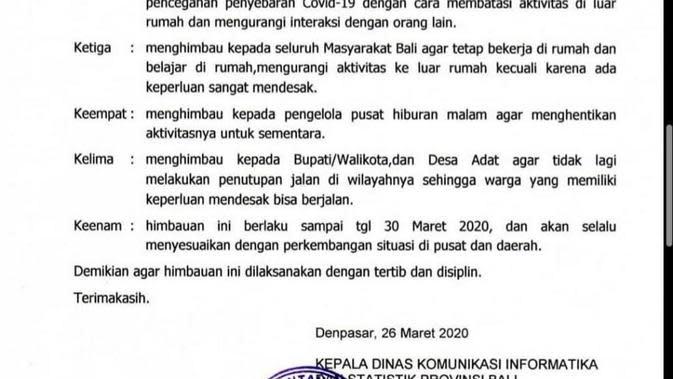 Bali Perpanjang Imbauan Warga Tak Keluar Rumah Hingga 30 Maret