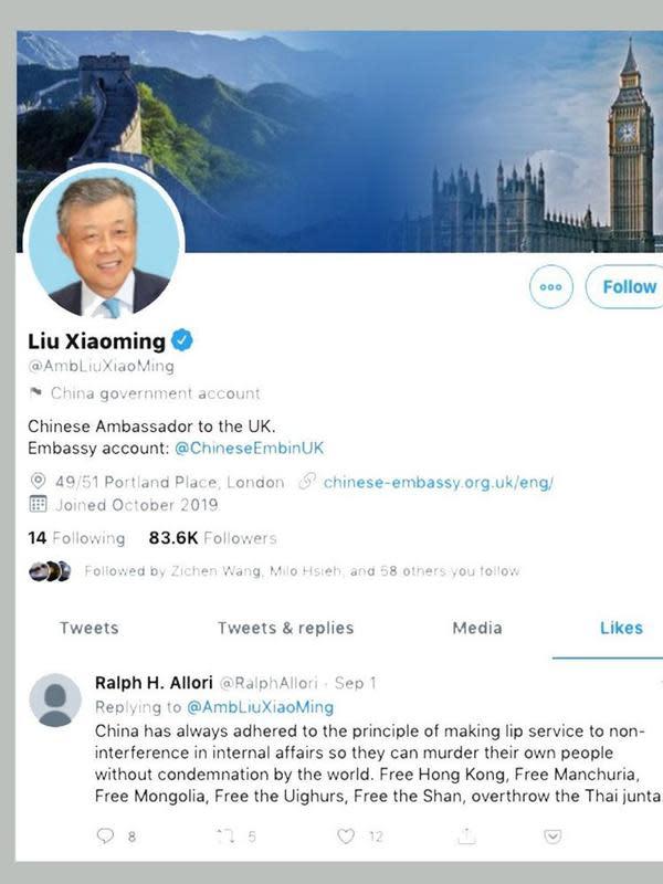 Tangkapan Layar Juru kampanye HAM London (twitter.com)