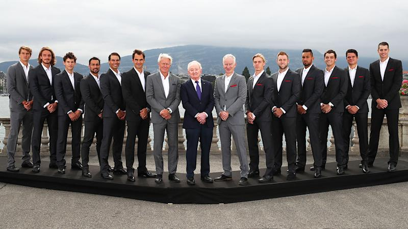 Members of Team Europe and Team World, pictured here ahead of the Laver Cup.