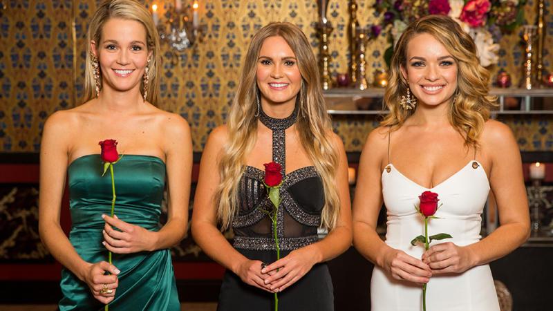 A photo of The Bachelor Australia final three: Abbie Chatfield, Chelsie McLeod and Helena Sauzier.