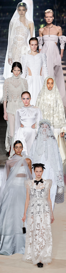 <p>The bridal market is booming, and it seems ready-to-wear designers are getting in on the action. Woe is the fashion bride who comes to face with a sea of strapless faille without a bias-cut or statement-making bodice among them—but no longer. In the hands of Brandon Maxwell, with a sleek two-piece bandeau number; Tom Ford, with a one-shoulder body-hugging lace gown; and Khaite, with a cutout, long-sleeve statement dress with an open back, among many other standouts, <em>almost</em> all fashion girl bridal problems are solved.</p><p>Tom Ford, Givenchy, Khaite, Paco Rabanne, Richard Quinn, Prabal Gurung, Simone Rocha, Brandon Maxwell, Giambattista Valli</p>