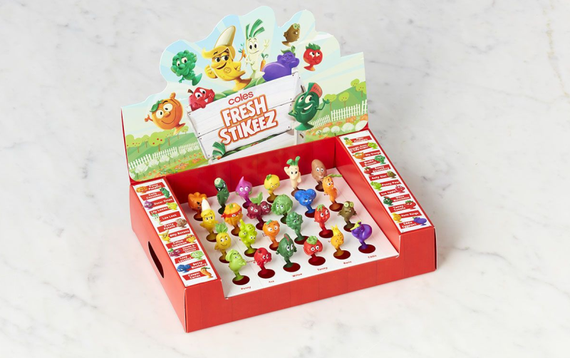 Photo shows Coles Stikeez in a cardboard display.