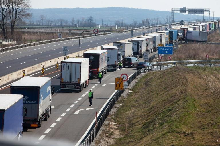 Hungary closed its borders on Monday resulting in long traffic tailbacks