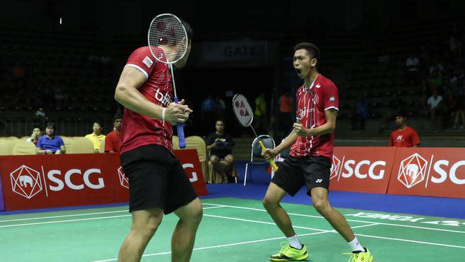 Ganda putra Indonesia Wahyu Nayaka Arya Pankaryanira/Ade Yusuf. (Liputan6.com/Humas PP PBSI)