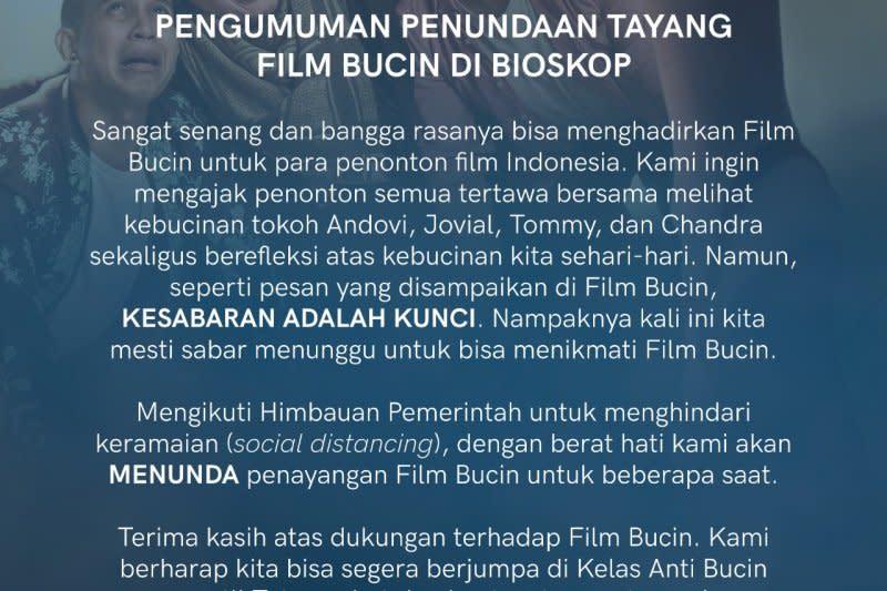 "Film ""Bucin"" tunda tayang dukung pencegahan penyebaran corona"