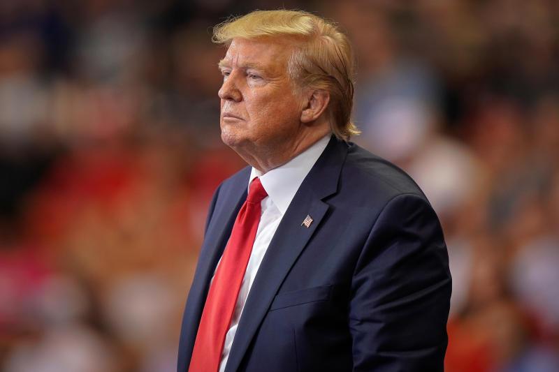 Le président des États-Unis, Donald Trump, fait une pause lors d'une conférence à Cincinnati, dans l'Ohio. Etats-Unis d'Amérique, 1 août 2019 REUTERS / Bryan Woolston