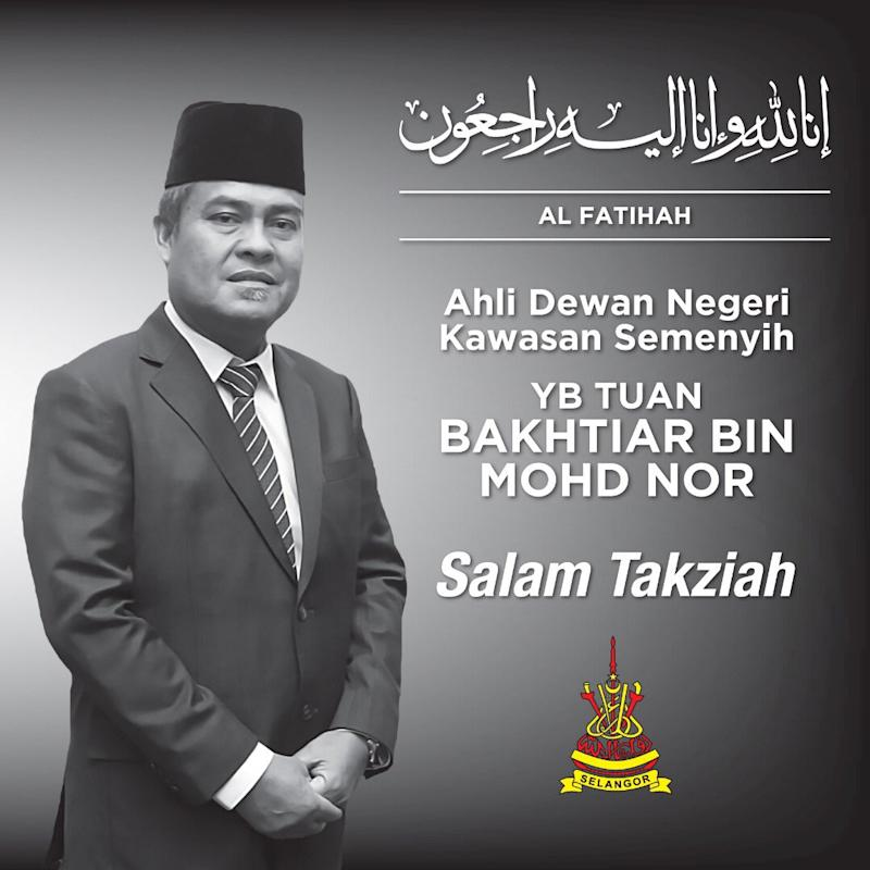 Bakhtiar Mohd passed away early this morning after suffering a heart attack. — Picture via Twitter/Amiruddin Shari