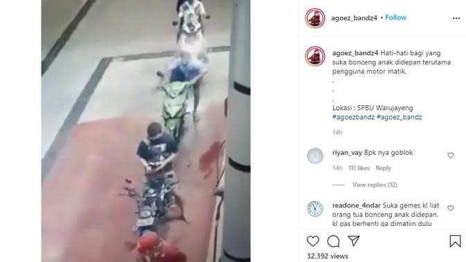 Tabrak Antrean Motor Gara-Gara Tak Matikan Mesin Saat Turunkan Anak di SPBU