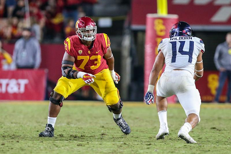 LOS ANGELES, CA - NOVEMBER 04: Austin Jackson (73) of the USC Trojans gets ready to block Kylan Wilborn (14) of the Arizona Wildcats during a college football game between the Arizona Wildcats vs USC Trojans on November 4, 2017 at the Los Angeles Memorial Coliseum in Los Angeles, CA. (Photo by Jordon Kelly/Icon Sportswire via Getty Images)