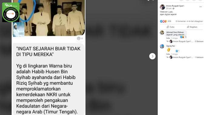 Penelusuran klaim foto ayah Habib Rizieq ikut membantu proklamasi kemerdekaan Indonesia