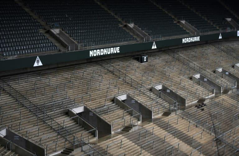 A deserted Borussia-Park, Borusia Moenchengladbach's home stadium