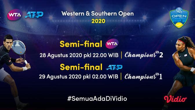 Live Streaming Semifinal ATP dan WTA Western & Southern Open 2020 di Vidio