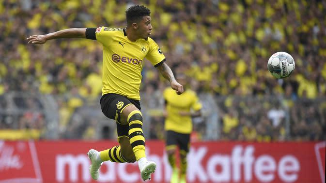 Jadon Sancho (Borussia Dortmund), salah satu bintang Bundesliga. (AFP/Ina Fassbender)