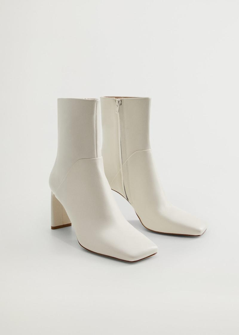 Squared toe leather ankle boots. Image via Mango.