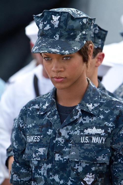 "FILE- In this file film image provided by Universal Pictures, Rihanna is shown in a scene from ""Battleship."" On Saturday, Feb. 23, 2013, at the 33rd Annual Razzie Awards, Rihanna was awarded worst supporting actress for ""Battleship."" (AP Photo/Universal Pictures, File)"