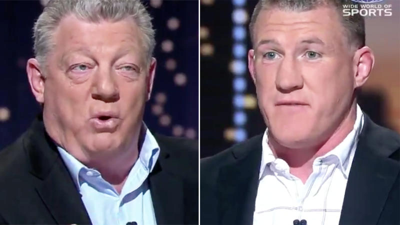Phil Gould and Paul Gallen, pictured here discussing the Sam Burgess ban.