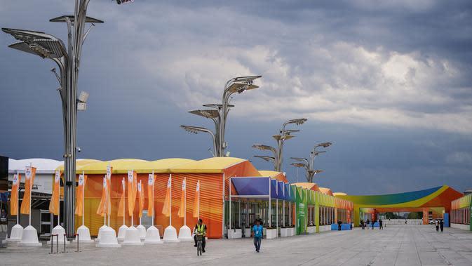 Pemandangan area pameran outdoor di dekat China National Convention Center, lokasi penyelenggaraan Pameran Perdagangan Jasa Internasional China (China International Fair for Trade in Services/CIFTIS), di Beijing Olympic Park di Beijing, ibu kota China (1/9/2020). (Xinhua/Peng Ziyang)