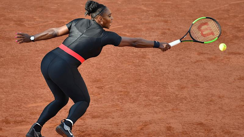 Serena Williams wearing a similar catsuit to Eugenie Bouchards at the French Open