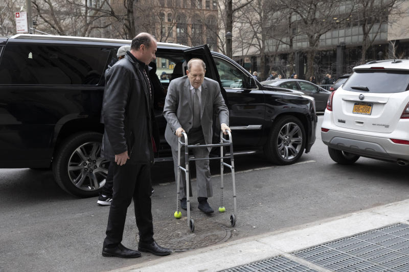 Harvey Weinstein arrives at a Manhattan courthouse, Tuesday, Jan. 7, 2020, in New York.  Potential jurors in Weinstein's New York sexual assault trial are expected to fill a courtroom Tuesday as the former movie titan's legal problems deepen with new charges in Los Angeles. (AP Photo/Mark Lennihan)