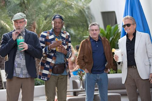 """This image released by CBS Films shows, from left, Kevin Kline, Morgan Freeman, Robert De Niro and Michael Douglas in a scene from """"Last Vegas."""" (AP Photo/CBS Films, Chuck Zlotnick)"""