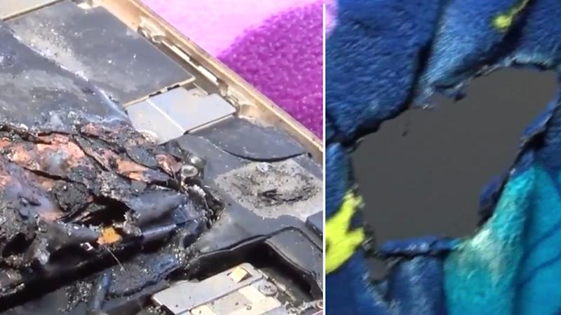 The destroyed iphone 6 (left) and the melted blanket (right)