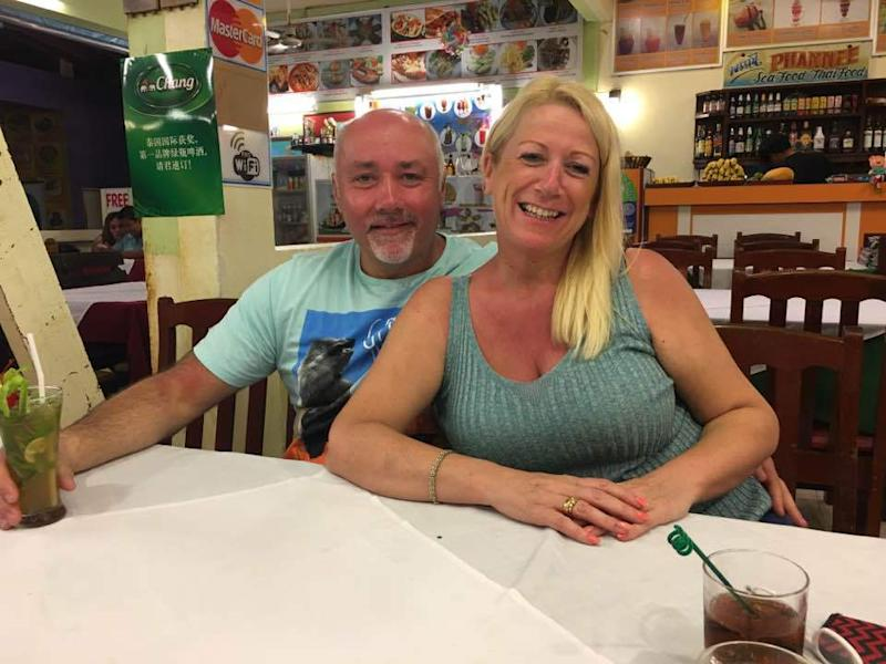 Picture of Lesley and Andy Critchett, enjoying some drinks. The couple had been married for over 20 years.