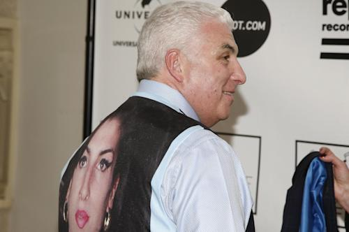 Musician Mitch Winehouse wears a vest with the image of his daughter, the late musician Amy Winehouse, at the 2013 Amy Winehouse Foundation Inspiration Awards and Gala on Thursday March 21, 2013, at the Waldorf Astoria Starlight Room in New York. (Photo by Andy Kropa/Invision/AP)