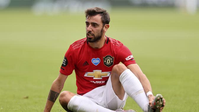 Gelandang Manchester United, Bruno Fernandes. (Carl Recine/Pool via AP)