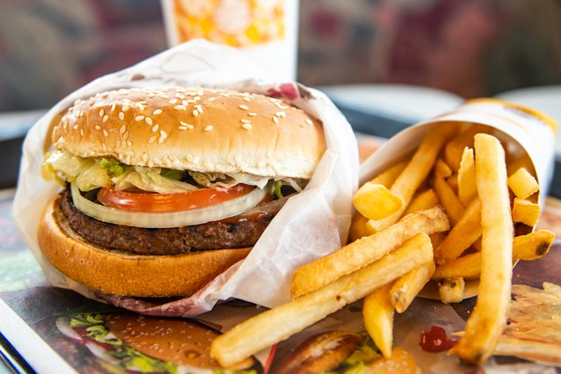RICHMOND HEIGHTS, MO - APRIL 01: In this photo illustration, an 'Impossible Whopper' sits on a table at a Burger King restaurant on April 1, 2019 in Richmond Heights, Missouri. Burger King announced on Monday that it is testing out Impossible Whoppers, made with plant-based patties from Impossible Foods, in 59 locations in and around St. Louis area. (Photo Illustration by Michael Thomas/Getty Images)