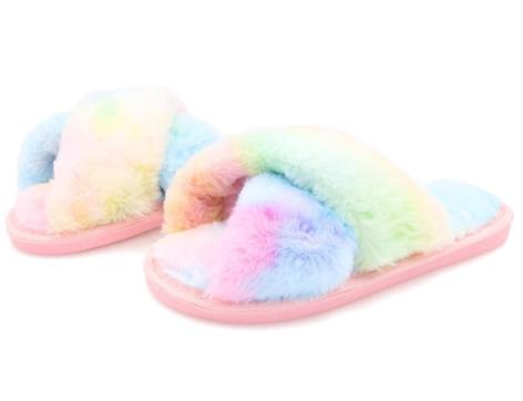 Topgalaxy.Z Fuzzy Slippers in rainbow