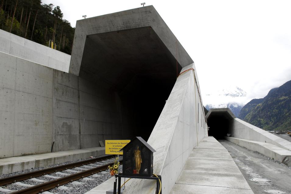 A statue of Saint Barbara, the patron saint of miners, stands in front of the northern entrances of the NEAT Gotthard Base tunnel near Erstfeld