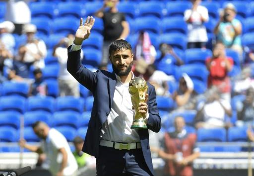 Nabil Fekir paraded the World Cup trophy to the Lyon fans ahead of their game at home to Amiens