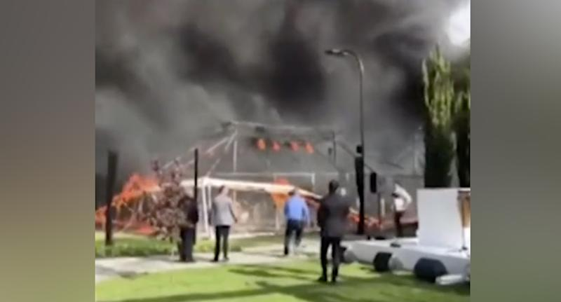 The marquee burned down