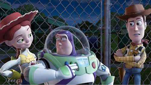 """FILE - In this undated film publicity image released by Disney, from left, Jessie, voiced by Joan Cusack, Buzz Lightyear, voiced by Tim Allen and Woody, voiced by Tom Hanks are shown in a scene from, """"Toy Story 3."""" With more than 5,000 fans expected to attend, Disney is teasing several of the studio's upcoming animated movies at the D23 Expo, Aug. 9-11, 2013, a three-day celebration of all things Disney at the Anaheim Convention Center. (AP Photo/Disney Pixar)"""