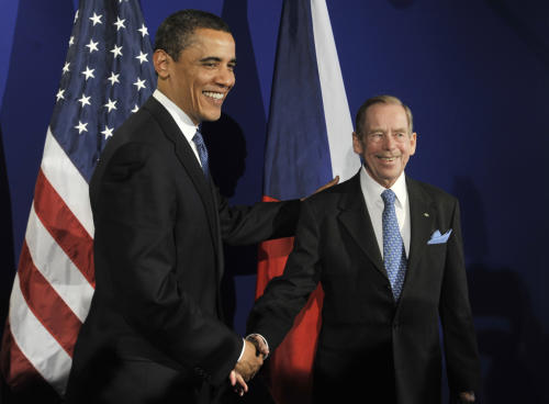 FILE - U.S. President Barack Obama, left, meets former Czech President Vaclav Havel, during a summit between the United States and the 27-member European Union in Prague, Czech Republic, in this April 5, 2009 file photo. Havel, the dissident playwright who wove theater into politics to peacefully bring down communism in Czechoslovakia and become a hero of the epic struggle that ended the Cold War, died Sunday Dec. 18, 2011 in Prague. He was 75. (AP Photo/Bela Szandelszky, File)