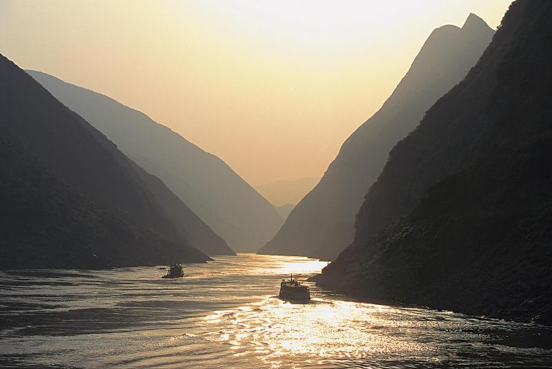 Sunset shot of China's Yangtze River.
