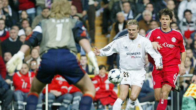 Empat musim (2003-2007) membela Madrid, Beckham tercatat tampil sebanyak 158 pertandingan dengan koleksi 20 gol dan 48 assist. (AFP/Christophe Simon)