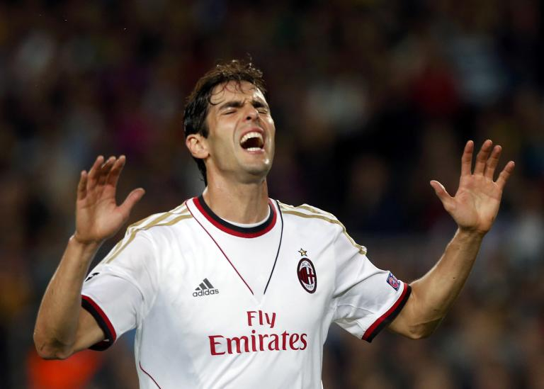 AC Milan's Kaka reacts after missing a chance to score against Barcelona during their Champions League soccer match in Barcelona