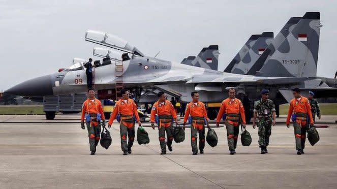 Jet tempur Sukhoi TNI buatan Rusia.